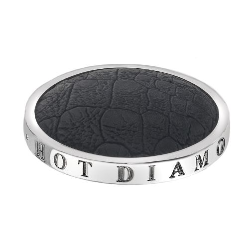 Hot Diamonds Emozioni Silver Plated Stainless Steel Faux Crocodile Black Coin - Large 33mm EC080